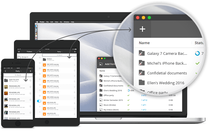 Sync photos, videos, music, PDFs, docs or any other file types to/from your mobile phone or tablet. Using 'Selective Sync', you can choose to sync only the files you need, whenever you need them.