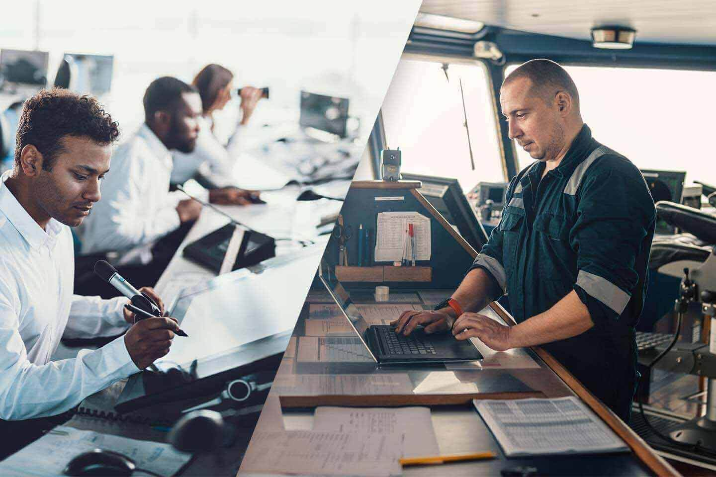 Marine navigational officer or technician is using laptop or notebook at sea. talk with logistics control center